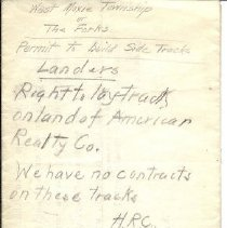 Image of Note on Landers Siding - back of letter