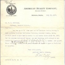 Image of Letter from F. H. Colby, American Realty Co.