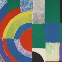 Image of Graphic - Sonia Delaunay was born in the Ukraine in 1855. She recieved her early training in St. Petersburg, then went to Karlsruhe in 1903 to study drawing. Married first to art critic Wilhelm Uhde, she later became the wife of the painter Robert Delaunay. Her early work shows the influence of established masters, but she quickly developed a unique style. She exhibited first at the Salon des Independants in 1914, then went to Spain and Portugal where she lived until 1920. She was commissioned by Diaghilev to create costumes for his production of Cleopatre, for which her husband did the scenery. Up to 1935 she designed fabrics and decorative ensembles in addition to her painting and print making.