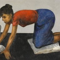 Image of Painting - The younger brother of artists Raphael and Moses, Isaac Soyer often portrayed working-class people in New York City. he has helped sustain into the present era of the warm, expressive, and humanistic traditions of portraiture of everyday life.