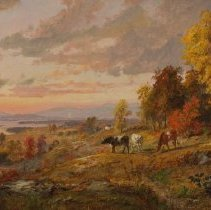 Image of Painting - Jasper Francis Cropsey was a part of the Hudson River Valley School of Painters.    It has been suggested that this painting depicts one of the vistas from Frederic Church's home. Cropsey made his reputation in London in 1860, exhibiting a large (60in. X 108in.) landscape titled Autumn - On the Hudson River. The British, unfamiliar with the brilliant array of northeastern United States foliage, were skeptical of the brilliant colors of the leaves in the painting. In response to the public controversy, Cropsey sent home for real leaves, which he pasted on cardboard and hung next to the painting. The mounting publicity introduced the British to American autumnal splendor and established Cropsey as the foremost painter of American autumnal scenery. Cropsey's preoccupation with autumn can be explained in part as a means to display his talent as a colorist and in part as a way to infuse his work with symbolic meaning. (In the nineteenth century it was widely believed that America's autumnal splendor, unknown in Europe and Asia, represented God's blessing on this nation, one of the premises of the Hudson River School ideology.)