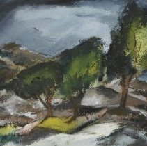 Image of Painting - Mary Leath Thomas (1905-1959), born in Georgia, spent the first half of her life in North Carolina and, after marrying fellow artist Howard Thomas, moved back to Georgia to spend the remainder of her life. During the 1950's she exhibited nationally, most notably at the Brooklyn Museum, the Butler Institute of American Art and the Metropolitian Museum of Art. Few southern women artists received such attention. Late in her life many of Thomas' paintings were more abstract than representational, as in Birds. Untitled was the last watercolor she executed, in April 1959, one month prior to her death at the age of 54.