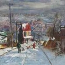 Image of Painting - This painting was the most important Speight in private hands.   It was included in serveral important exhibitions and was  on the cover of NC Museum of Art's 1961 retrospective catalouge.    Winter Scene was painted from West Manayunk, looking across the Schuylkill River toward Manayunk, an industrial section of Philadelphia that crosses the river.  At the time, Francis Speight (1896- 1989) painted this work, he and his wife, Sarah Blakeslee, were living in an old farmhouse on Cinnaminson Lane in the Roxborough section of Philadelphia.