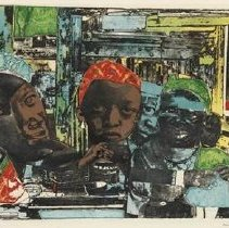 """Image of Paper - African-American artist Romare Bearden (1911-1988) is one of the most important artists of the 20th century, notable for his skill in working with a variety of media such as collages, watercolors, oils, and paints. Visual metaphors from his childhood in Charlotte, North Carolina are represented in many of his works, including The Train.  In 1975 Bearden produced the print The Train, and at that time it was considered one of the ten most important prints. Creating this piece, Bearden reused a 1964 collage, but also added new textures and colors by using mesh screens and photogrpahy to generate the photogravure (etching) plate. After doing this, Bearden cut the image so colored areas could be inked separately and reassembled for the printing process.   In this print, the train is a small black-and-white detail in the upper left. Bearden said that trains """"could take you away and could also bring you to where you were. And in the little towns, it's the black people who live near the trains."""" Bearden's childhood home was located near a train trestle, and trains became a key symbol and recurring image in his work."""