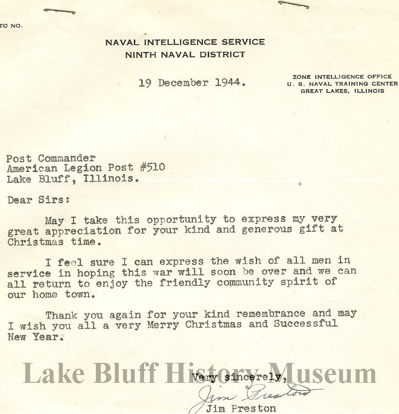World War Ll Letters From Servicemen To American Legion Post 510