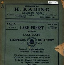 Image of Year 1920 - Highland Park-Lake Forest Telephone Directory July 1920