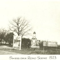 Image of Sheridan Road - North east corner of Sheridan and McKinley, looking north. (Note on reverse: N.E. Corner where Sheridan Road turns easterly, just north of Lake Forest -- Lake Bluff boundry.)