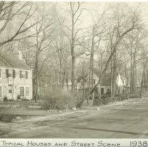 Image of Typical houses - Ravine Ave. looking easterly. Houses at northwest and northeast corners at Simpson in foreground and much older houses at northwest corner of Ravine and Sunrise in background. (Also postcard #101.)