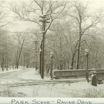 Image of Park Scene -- Ravine Drive - Winter scene of Moffett bridge and Ravine Drive. Looking east from Moffett Road. The bridge, built in 1915 was replaced by a new bridge in 1965. Also postcard  #191