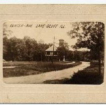 "Image of Center Ave. Lake Bluff ILL - Sepia postcard on heavy stock and embossed.  One card has message and postmark 1909.  Second card has Dr. Dewey's name and description ""Center Ave. looking east """