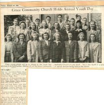Image of Grace Methodist Church and Annual Youth Day - Newsclipping, Youth day services, Lake Bluff Children's Home     children Patsy Bowen, Corinne Briscoe & Richard Moley