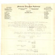 Image of Letterhead - Miss Jessie A Arbuckle, Miss Lucy J Judson letterhead with minutes of Aux meeting