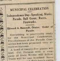 Image of Municipal Celebration (The Lake Forester Volume XXI Number 48) - The Lake Forester Volume XXI Number 48 dated July 3rd 1915.  Contains an article about the following day's celebration in Lake Bluff, including a small preview and profile of the scheduled orator.  This record is for the first page of the article in question, but not the complete paper.