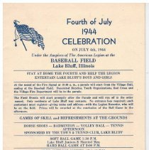 Image of Fourth of July 1944 Celebration - The program of events for the 1944 4th of July celebration.  Lists parade, athletic events, free outdoor movies, fireworks, and a dance.  Also lists prizes to be won at the end of the night.