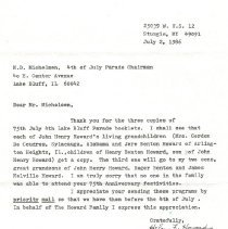 Image of Letter to Murray Michelson from Helen Howard regarding the 75th Anniversary July 4th Lake Bluff Parade.