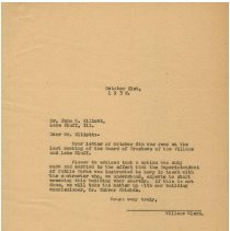 """Image of A letter from Lake Bluff Village Clerk to John G. Elliott concerning the demolition """"wrecking"""" of the Bluff Hotel."""