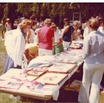 Image of Bicentennial Celebration items for sale - People browse what is for sale at the Bicentennial Celebration