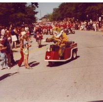 Image of Clown -- 1976 parade - A clown in the 1976 parade