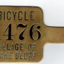 Image of Bicycle Tag - Lake Bluff  Village bicycle tag from the 1950s.
