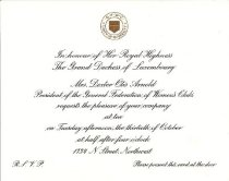 Image of Invitation for reception originally scheduled for 30 Oct 1962