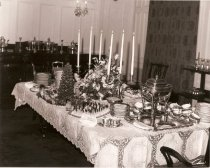Image of Reception table for centennial celebration of the Miles Mansion