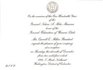 Image of Invitation to reception at GFWC Headquarters for Miles Mansion centennial