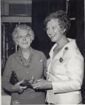 Image of Mrs. Wagner welcomes Jane Wyatt, a member of the North Shore Woman's Club