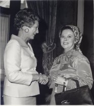 Image of Jerri Wagner greeting guest Shirley Temple Black