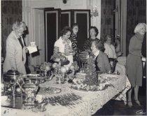 Image of Arnold, Gray Deck, Marguerite Rawalt (in striped dress), Jewel Hamilton (R)