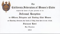 Image of Reception Invitation, eleventh biennial convention, 1912