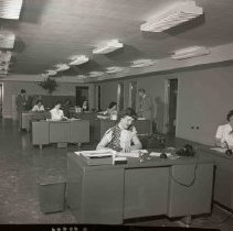Image of Pioneer Airlines, office staff, 1950's