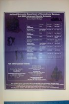 Image of Ashland University Recreational Department schedule poster 2004