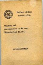 Image of 10-17Catalog1913 - Ashland College Ashland, Ohio Quarterly and Annoucements for the Year Beginning Sept. 16, 1913