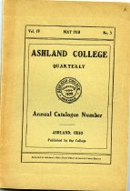 Image of 10-17Catalog1910-3 - Ashland College Quarterly May 1910 Annual Catalogue Number