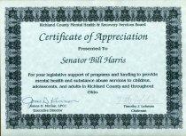 Image of Certificate of Appreciation  Presented to  Senator Bill Harris - Certificate