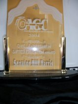 Image of Civic leadership in gifted education award Senator Bill Harris - Objects Collection