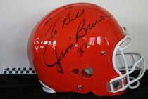 Image of Football helmet and two photographs of Jim Brown  - Objects Collection