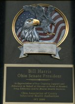 Image of Bill Harris Ohio Senate President In appreciation of your ongoing support - Plaque
