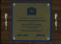 Image of Distinguished governmental service award Presented to  Senator Bill Harris - Plaque