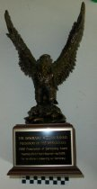 Image of Award-eagle statue with plaque - Objects Collection