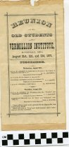 Image of Reunion of the old students of Vermillion Institute, Hayesville, Ohio August 21st, 22d, and 23d, 1877.  Programme. - Printed program