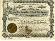 Image of Stock Certificate-The Vermillion Oil and Gas Company Mt. Vernon, Ohio.