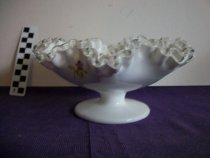 Image of Glass bowl Fenton white fluted with flower decals attached. - Objects Collection