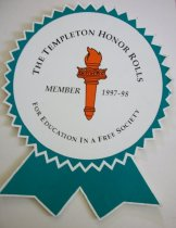 Image of Award The Templeton Honor Rolls member 1997-1998 for education in a free society.  With orange torch with green jagged border with tails.    - Award