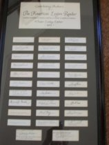 Image of Framed collection of autographs.  Contributing authors to the American Legion Reader, Victor Lasky, editor 1953. - Framed Letter