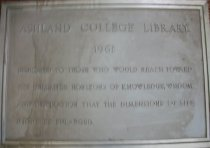 Image of Plaque metal from Ashland College library 1961 - Plaque