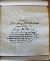 Image of Award presented to Mrs. Hugo Young in honor of the late Hugo H. Young by th