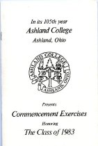 Image of Printed program-Ashland College Commencement Ashland, Ohio 1983.