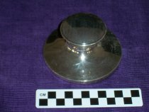 Image of Silver ink well with lid.  - Objects Collection