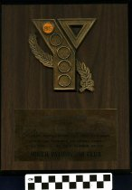Image of Award- wooden with brass colored YMCA logo.  Has the number 85 attached to the logo.  Black lettering on brass plate attached to award-Ashland UMCA honors Rotary Club of Ashland - Award